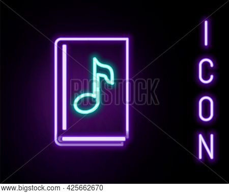 Glowing Neon Line Audio Book Icon Isolated On Black Background. Musical Note With Book. Audio Guide
