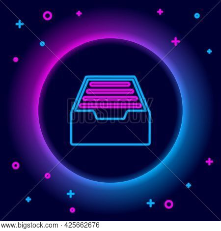 Glowing Neon Line Drawer With Documents Icon Isolated On Black Background. Archive Papers Drawer. Fi