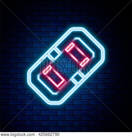 Glowing Neon Line Rafting Boat Icon Isolated On Brick Wall Background. Inflatable Boat. Water Sports