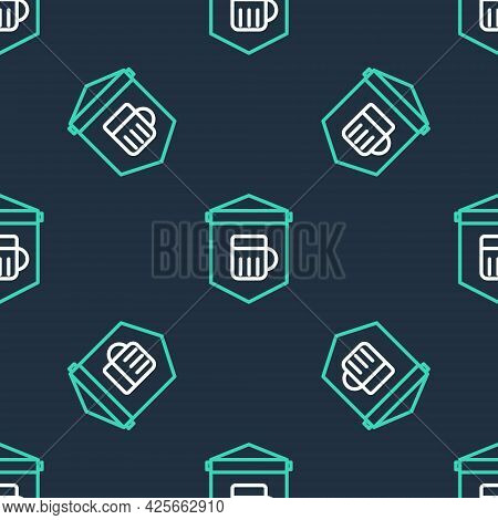 Line Street Signboard With Glass Of Beer Icon Isolated Seamless Pattern On Black Background. Suitabl