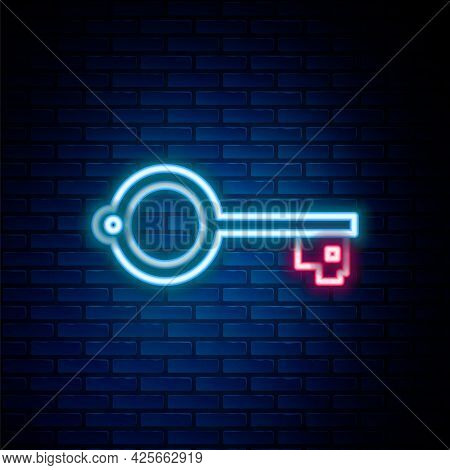 Glowing Neon Line Ancient Key For Game Icon Isolated On Brick Wall Background. Colorful Outline Conc