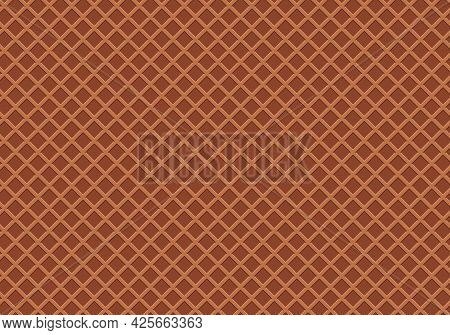 Chocolate Wafer Seamless Pattern. Ice Cream Cone Wafer Texture Background. Crispy Waffle Food Textur