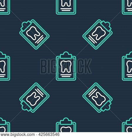 Line Clipboard With Dental Card Or Patient Medical Records Icon Isolated Seamless Pattern On Black B