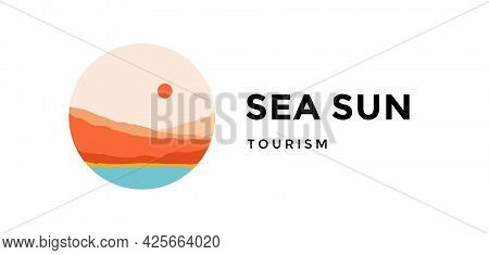 Logo, Logotype, Sign. Sea Sun, Tourizm. Logo With Abstract Landscape Mountain, Sky And Sunset View.