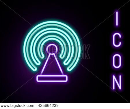 Glowing Neon Line Radar Icon Isolated On Black Background. Search System. Satellite Sign. Colorful O