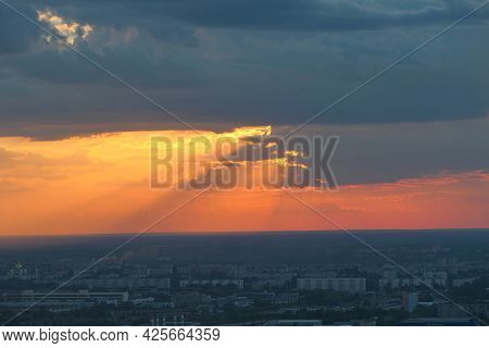 Beautiful Sunsebeautiful Sunset Over The City. Twilight, The Sun Is Over The Horizon. T Over The Cit
