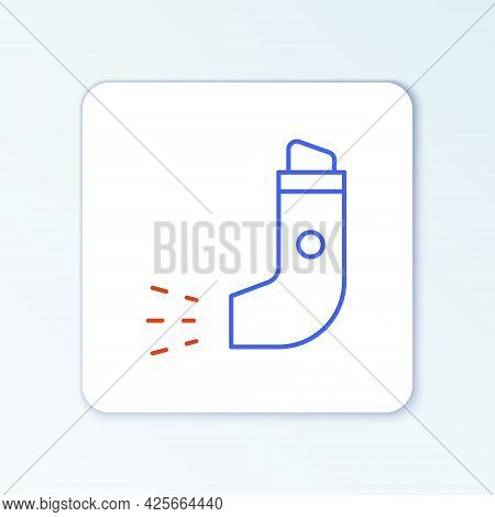 Line Inhaler Icon Isolated On White Background. Breather For Cough Relief, Inhalation, Allergic Pati