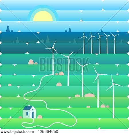 Wind Power Plant And Factory. Wind Turbines. Green Energy Industrial Concept. Vector Illustration In