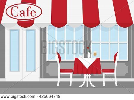 Vector Illustration Of Street Cafe With Red And White Striped Awning, With Table, Chairs, And Coffee