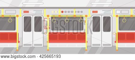 Vector Illustration Interior Of Empty Subway Train. Modern City Public Transport, Underground Train