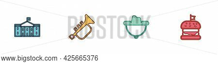 Set United States Capitol Congress, Trumpet, Western Cowboy Hat And Burger Icon. Vector