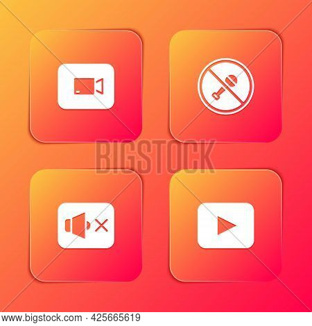 Set Play Video Button, Mute Microphone, Speaker Mute And Icon. Vector