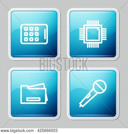 Set Line Graphic Tablet, Processor With Microcircuits Cpu, Printer And Microphone Icon. Vector