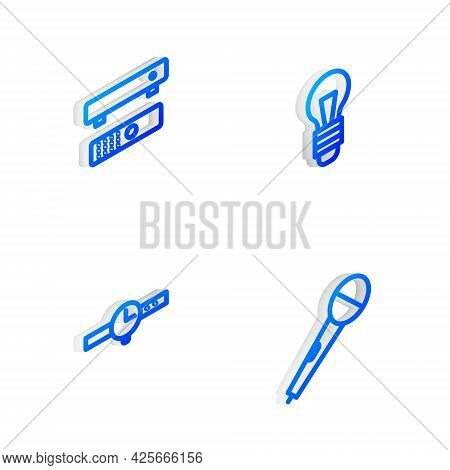 Set Isometric Line Light Bulb, Multimedia And Tv Box, Wrist Watch And Microphone Icon. Vector