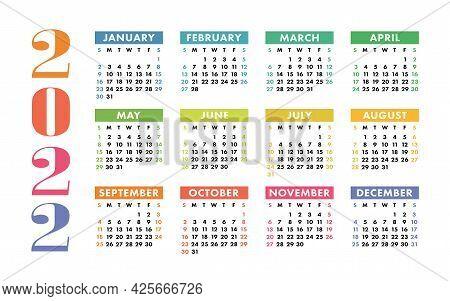 Calendar 2022 Year. Vector Kid's Pocket Or Wall Calender Template. Simple Design. Week Starts On Sun