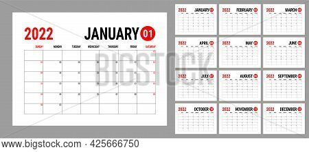 Calendar 2022 Year. English Planner Template. Vector Horizontal Grid. Landscape Orientation. Plannin
