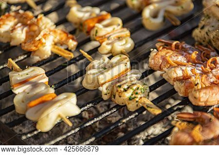 Fish Skewers On The Grill 4