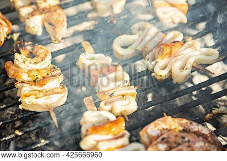 Fish Skewers On The Grill 8