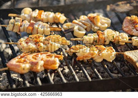 Fish Skewers On The Grill 9