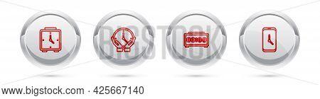 Set Line Alarm Clock, Clock, Digital Alarm And App Mobile. Silver Circle Button. Vector