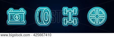 Set Line Car Battery, Tire, Chassis Car And Alloy Wheel. Glowing Neon Icon. Vector