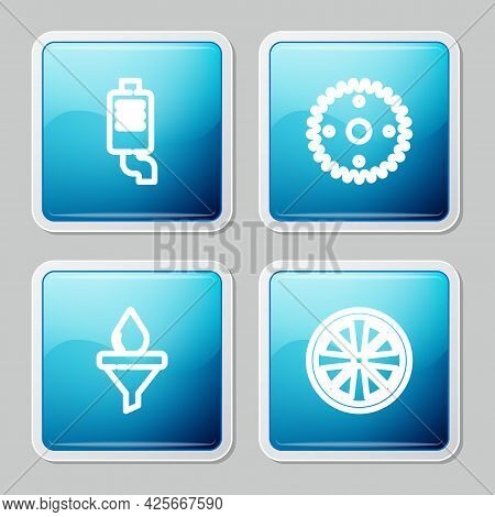 Set Line Car Muffler, Gear, Funnel And Oil Drop And Alloy Wheel Icon. Vector