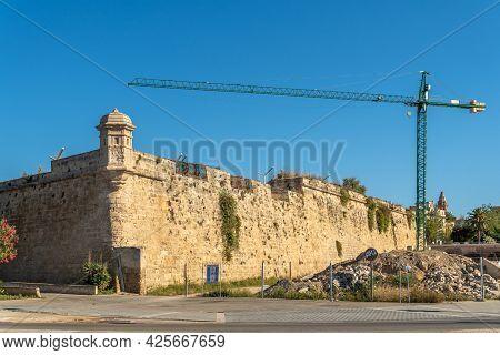 Palma De Mallorca, Spain; June 25 2021: Ancient Medieval Stone Walls Of The City Of Palma De Mallorc