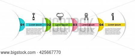 Set Line Toothbrush, Dental Implant, Pliers And Floss. Business Infographic Template. Vector