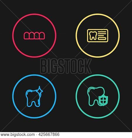 Set Line Tooth Whitening, Dental Protection, Card And Dentures Model Icon. Vector