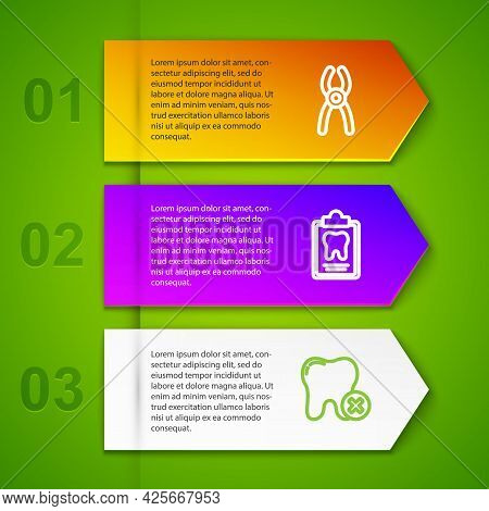 Set Line Dental Pliers, Card, Tooth With Caries And Teeth Braces. Business Infographic Template. Vec