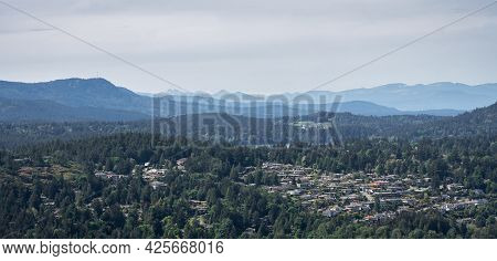 Vista With Hazy Mountains In Background, Shot On Vancouver Island, British Columbia, Canada