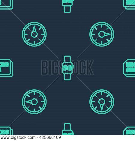 Set Line Smart Watch 5g Network, Digital Speed Meter And Micro Sim Card On Seamless Pattern. Vector