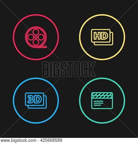Set Line 3d Word, Movie Clapper, Hd Movie, Tape, Frame And Film Reel Icon. Vector