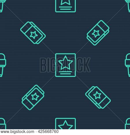Set Line Hollywood Walk Of Fame Star, Cinema Ticket And Microphone On Seamless Pattern. Vector
