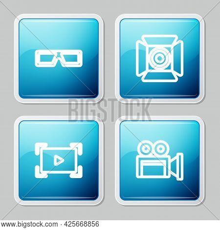 Set Line 3d Cinema Glasses, Movie Spotlight, Online Play Video And Cinema Camera Icon. Vector