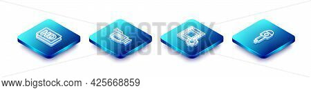 Set Isometric Line Hd Movie, Tape, Frame, Cinema Camera, Play Video And Microphone Icon. Vector