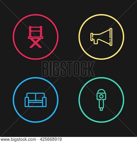 Set Line Cinema Chair, Microphone, Megaphone And Director Movie Icon. Vector