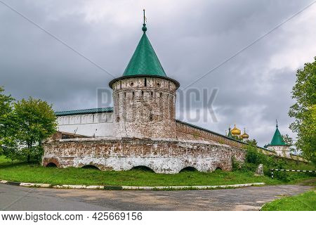 Tower An Wall In Ipatiev Monastery In Kostroma, Russia
