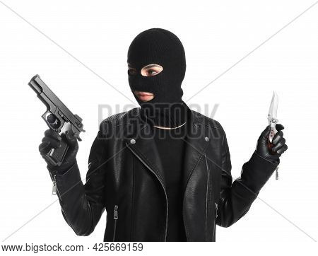 Woman Wearing Knitted Balaclava With Gun And Knife On White Background