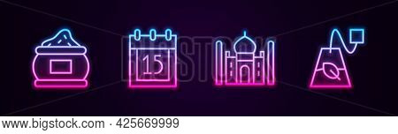 Set Line Indian , Independence Day, Taj Mahal And Tea Bag. Glowing Neon Icon. Vector