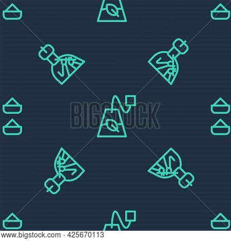 Set Line Tea Bag, Indian Man Plays Flute And On Seamless Pattern. Vector