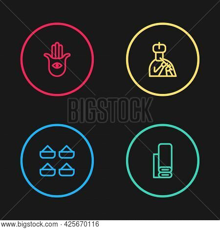 Set Line Indian , Textile Fabric, Man Plays Flute And Hamsa Hand Icon. Vector
