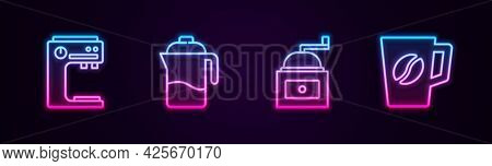 Set Line Coffee Machine, French Press, Manual Coffee Grinder And Cup. Glowing Neon Icon. Vector