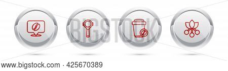 Set Line Location With Coffee Bean, Coffee Filter Holder, Cup To Go And Branch. Silver Circle Button