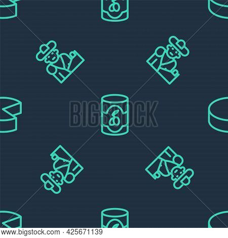 Set Line Olives In Can, Bullfight, Matador And Cheese On Seamless Pattern. Vector