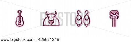 Set Line Spanish Guitar, Earrings, Bull And Peineta Icon. Vector