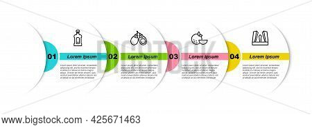 Set Line Orujo, Castanets, Orange Fruit And Gate Of Europe. Business Infographic Template. Vector