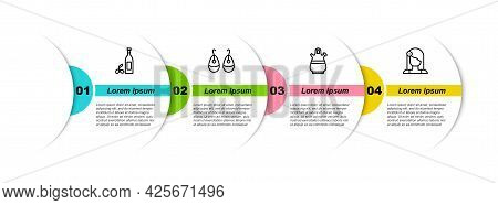 Set Line Bottle Of Olive Oil, Earrings, Sangria Pitcher And Spanish Woman. Business Infographic Temp