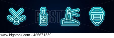 Set Line Ice Hockey Sticks And Puck, Beer Bottle, Lighthouse And Hockey Helmet. Glowing Neon Icon. V