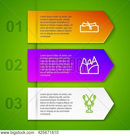 Set Line Kayak Or Canoe, Mountains, Lobster And Ice Hockey Sticks And Puck. Business Infographic Tem